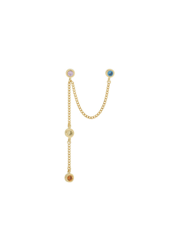 Anna + Nina Single Duo Confetti Chain Earring Gold