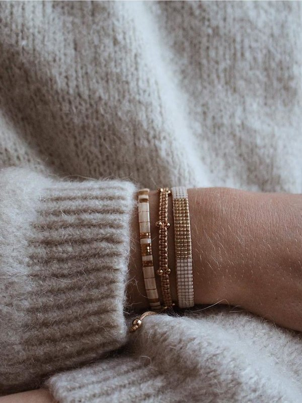 Lobibeads Beige met Gouden Miyuki Armband