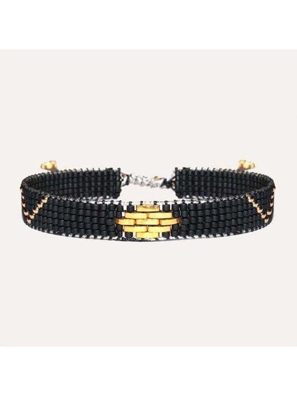 Lobibeads Zwarte Brede Kralen Armband