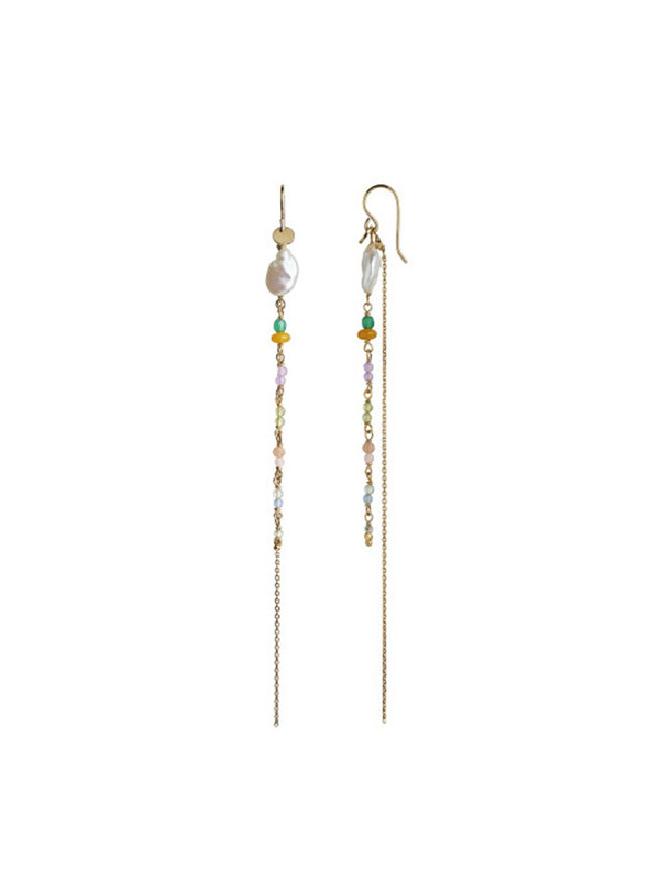 Petit Gemstones And baroque Pearl Earring Gold With Long Chain Sorbet Mix