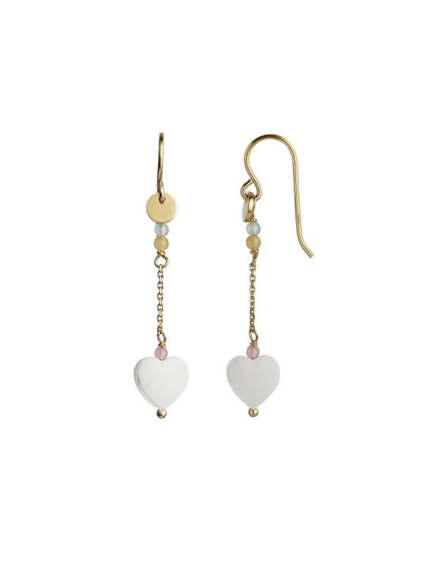 Stine A Love Heart Earring Gold With Chain And Gemstones Pastel mix