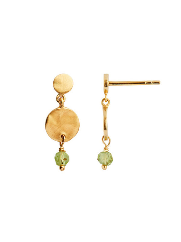 Stine A Petit Hammered Coin And Stone Earring Gold-Peridot