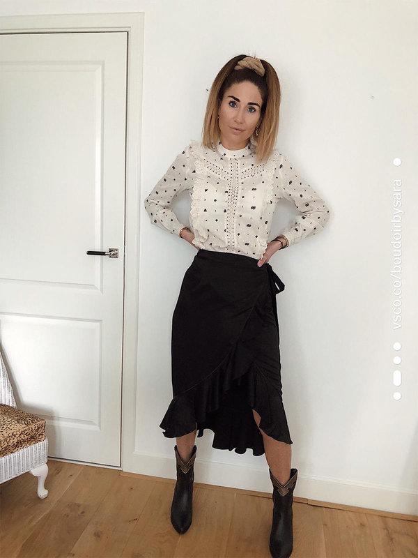 Aaiko Isadee Black Skirt Ruffle