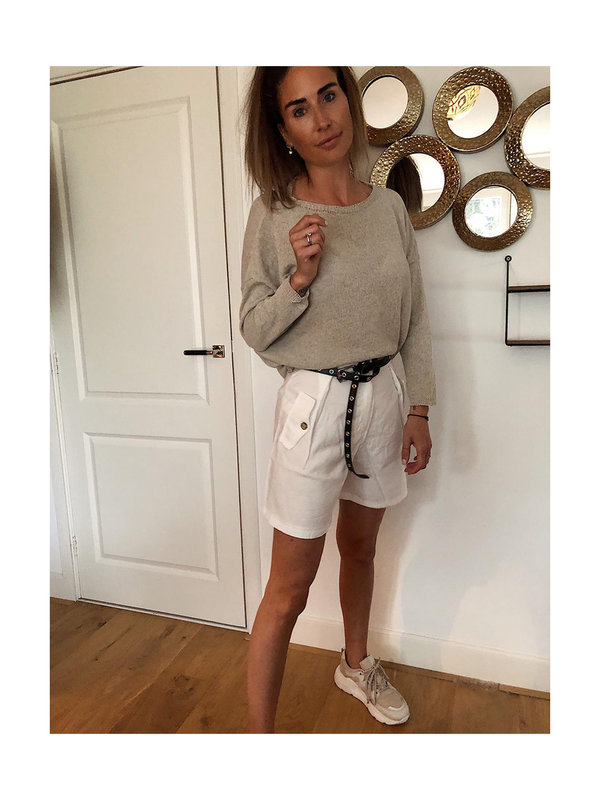 By Sara Collection Aleyna Short White