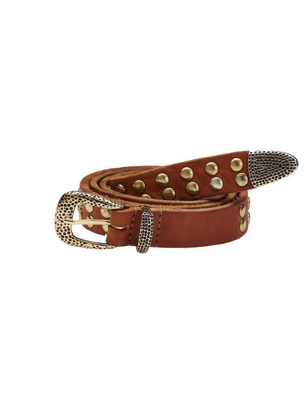 Elvy Cognac Studs Belt