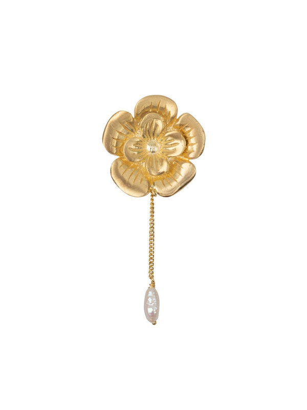 Betty Bogaers Poppy Flower Stud And Pearl Chain Earring Gold Plated