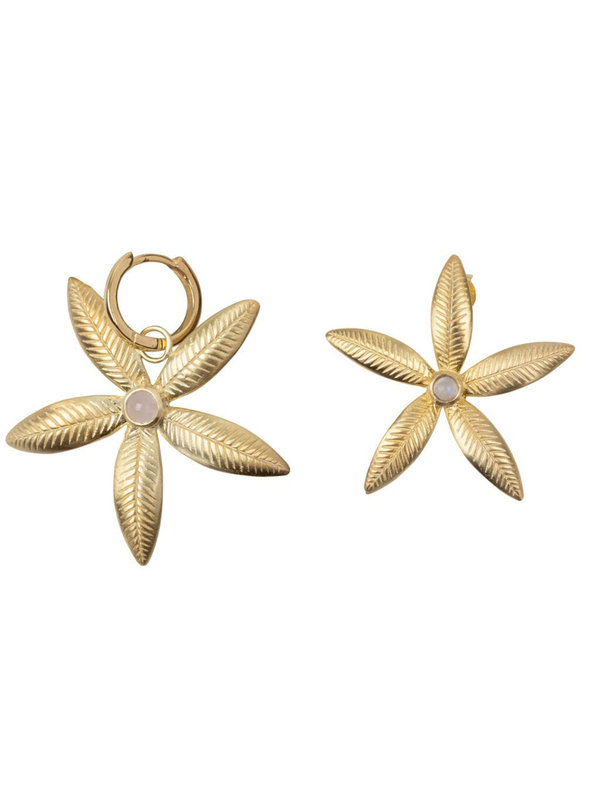 Betty Bogaers Lily Flower Stud And Small Hoop Earring Gold Plated