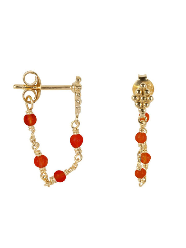 Betty Bogaers Wieber Chain Red Stones Stud Earring Goldplated