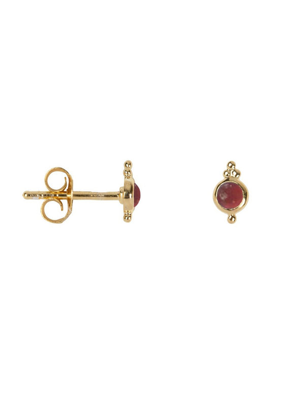 Betty Bogaers Antique Sun Shaped Red Stone Stud Earring Goldplated