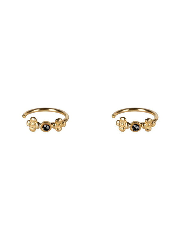 Betty Bogaers Dotted Mini Flowers Black Zirkonia Ring Earring Gold Plated
