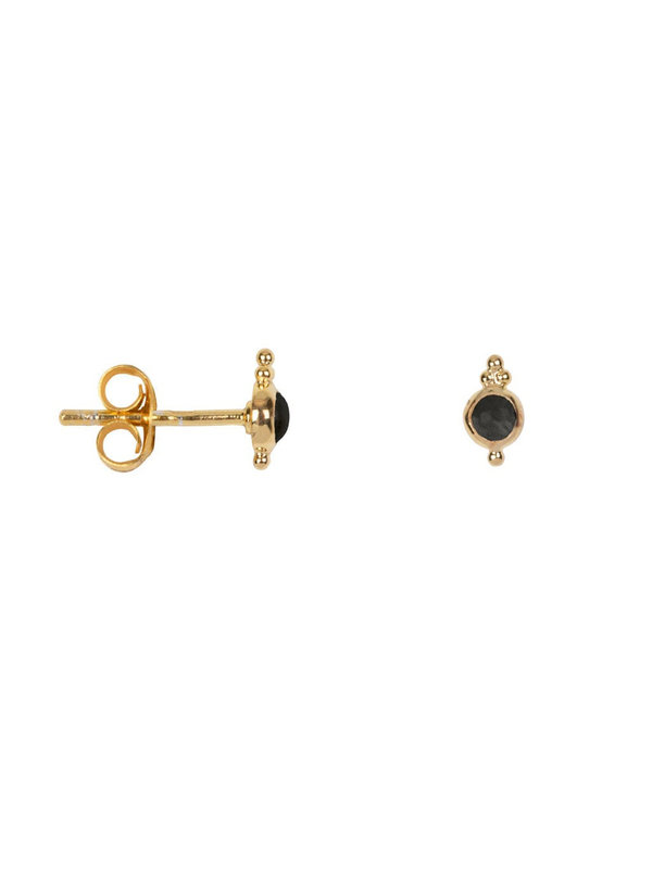 Betty Bogaers Antique Black Stone Stud Earring Gold Plated