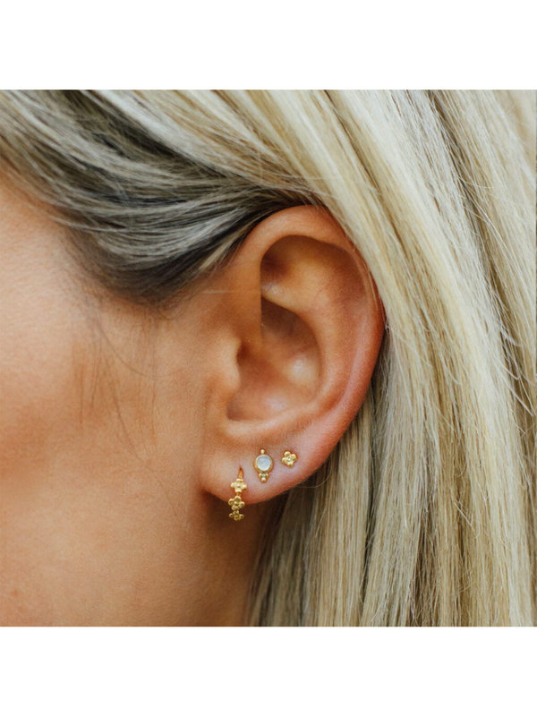Betty Bogaers Dotted Mini Flowers Plain Ring Earring Gold Plated
