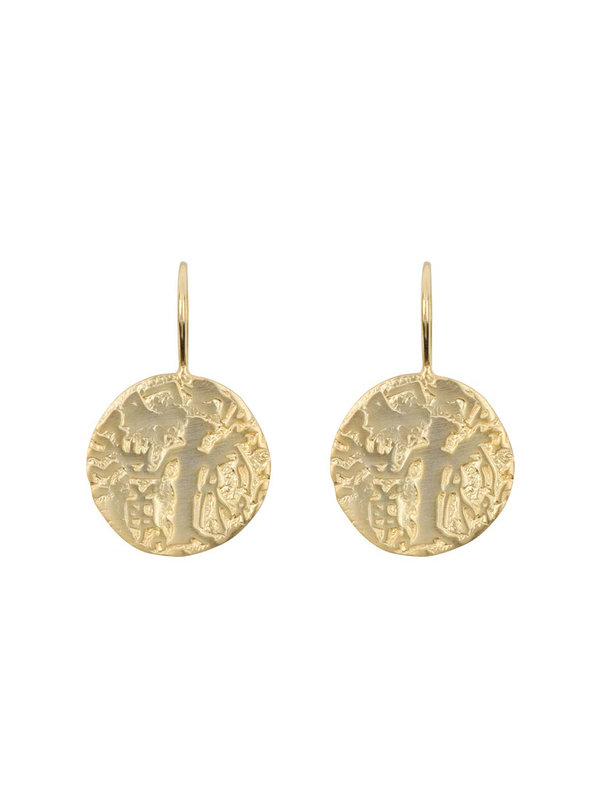 Betty Bogaers Vintage Old Coin Hook Earring Gold