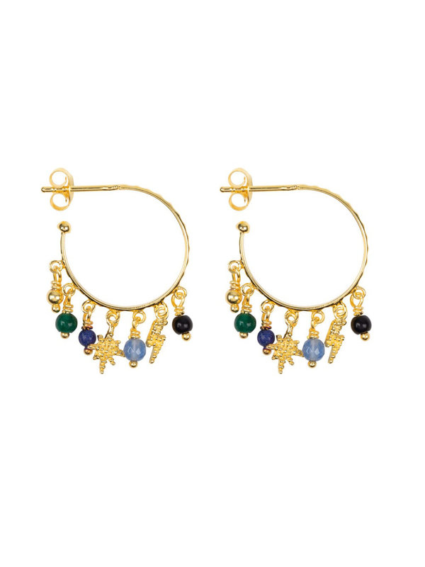 Betty Bogaers Hoop Dotted Beads And Colors Earring Goldplated