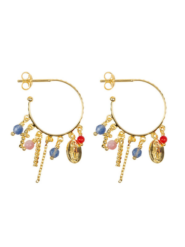Betty Bogaers Hoop Maria And Cross Beads And Colors Earring Gold Plated