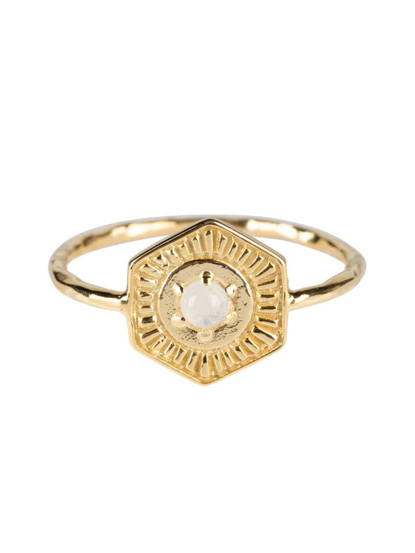 Betty Bogaers Vintage Coin Moonstone Ring Gold Plated