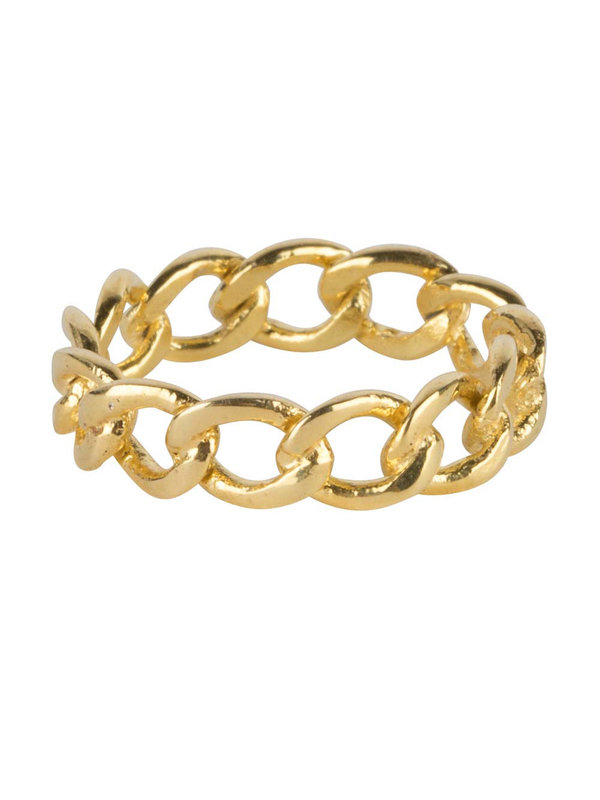 Betty Bogaers Big Open Chain Ring Gold Plated