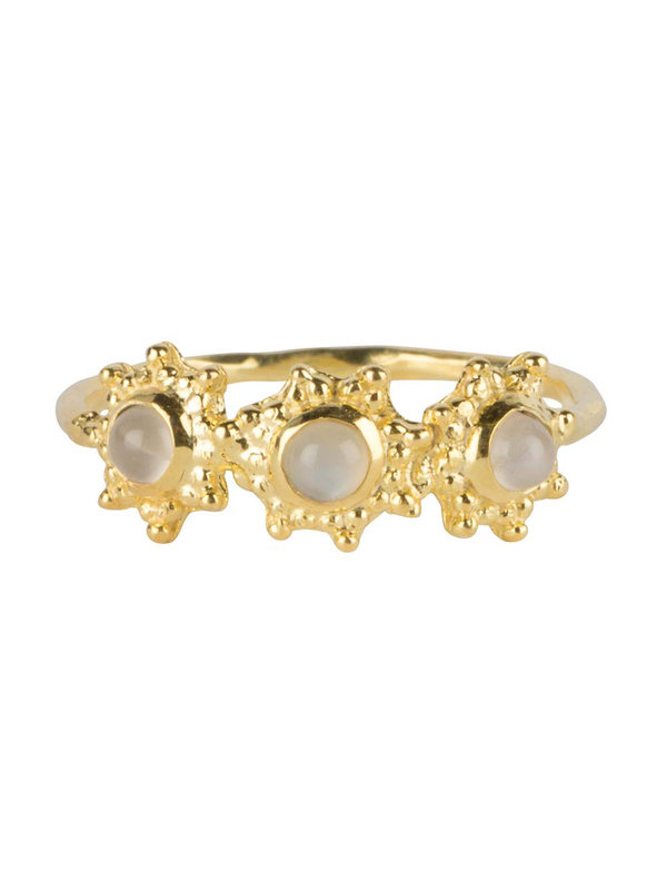 Betty Bogaers Three Antique Dotted Octagons Moonstone Ring Gold Plated