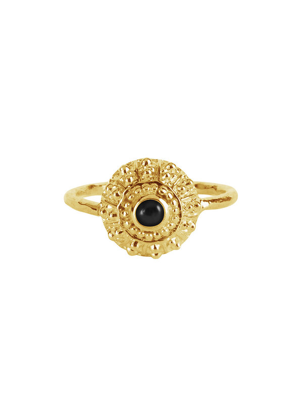 Betty Bogaers Antique Black Onyx Ring Gold Plated