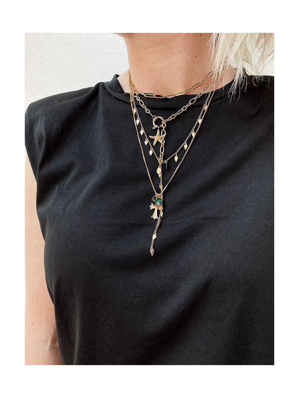 By Sara Collection Necklace Stuck In Chains Gold Plated