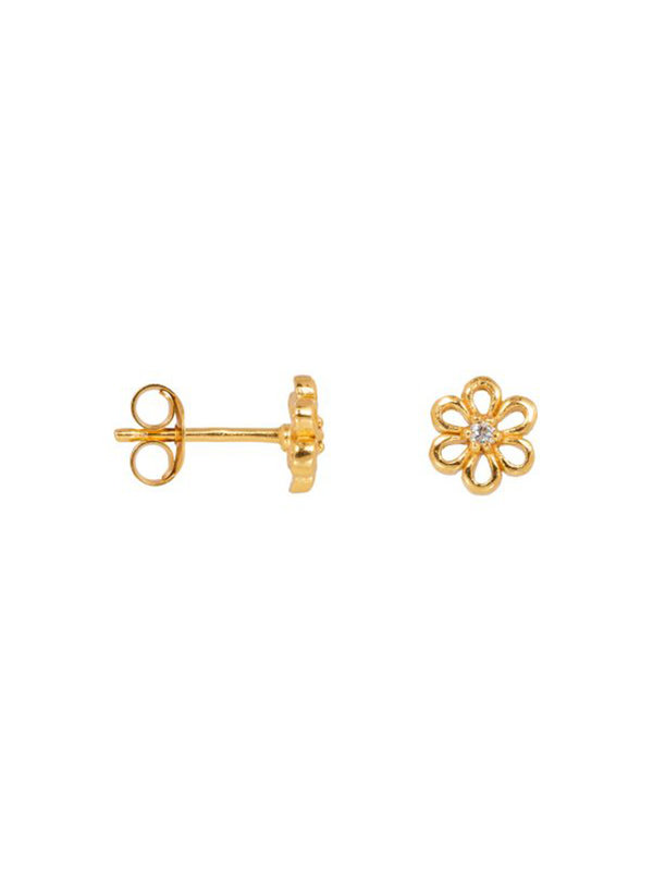 Eline Rosina Daisy Earrings in Gold Plated Sterling Silver