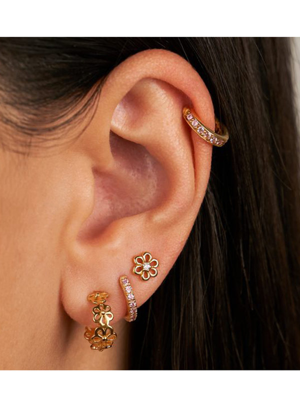 Eline Rosina Daisy Hoops in Gold Plated Sterling Silver