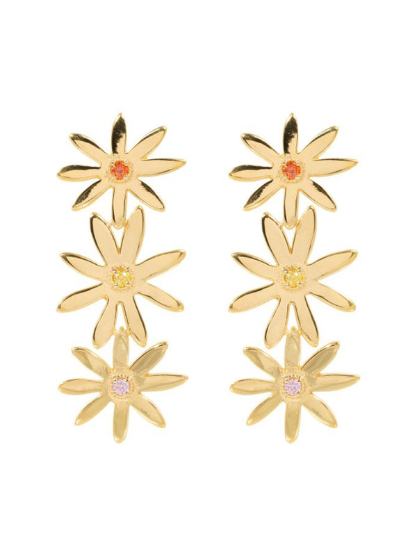 Eline Rosina Statement Daisy Earrings in Gold Plated Sterling Silver