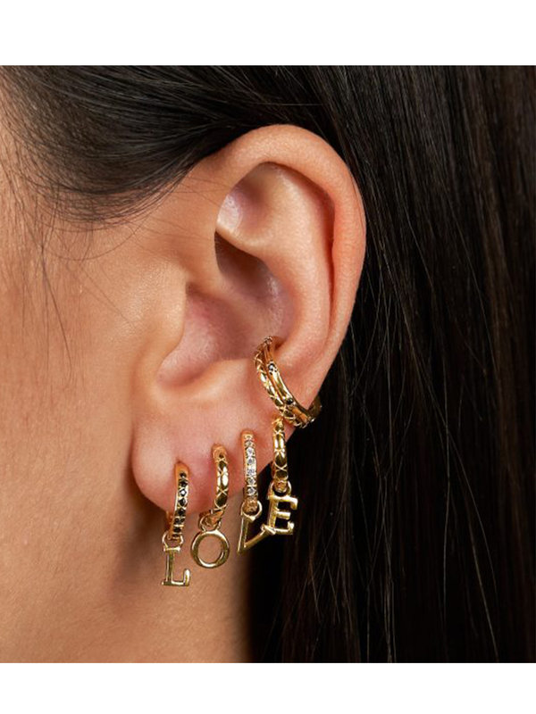 Eline Rosina Black Zirconia Ear Cuff in Gold Plated Sterling Silver