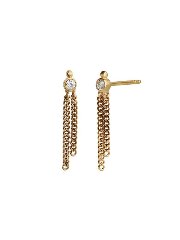 Stine A Dot Earring Gold With Two Chains
