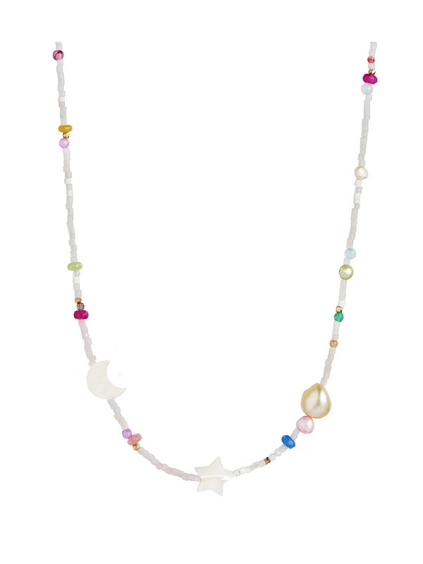 Stine A White Midnight Necklace With Moon Star And Multicolor Stones