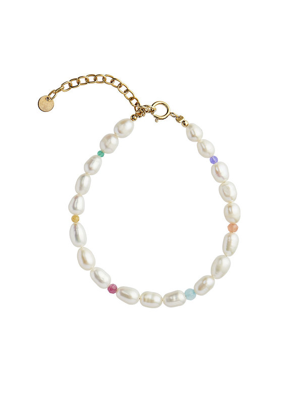 Stine A White Pearls And Candy Stones Bracelet Gold