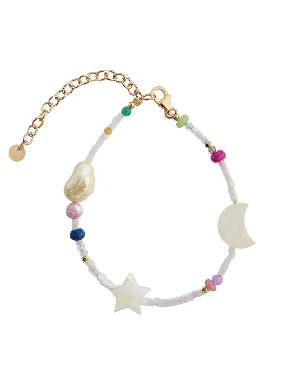 Stine A White Midnight Bracelet With Moon Star And Multicolor Stones