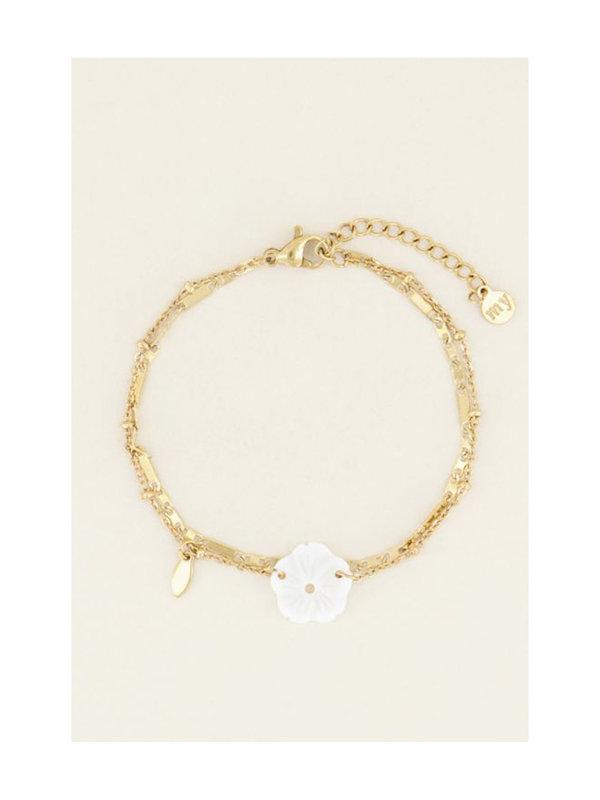 My Jewellery Dubbel Armbandje Bloemetje Goud