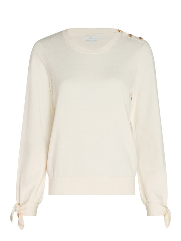 Fabienne Chapot Molly Bow Pullover Cream White Uni