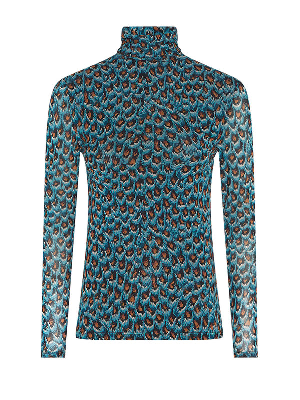 Fabienne Chapot Jane Mesh Top Dusty Blue/Taupe Peacock Party