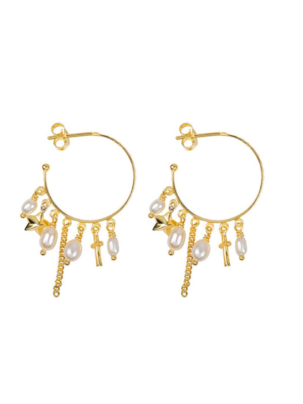 Betty Bogaers Hoop Dotted Beads and Pearls Earring Gold Plated