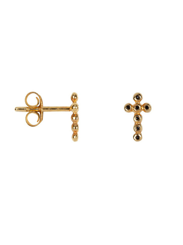 Betty Bogaers Cross Stud Zirkonia Earring Gold Plated