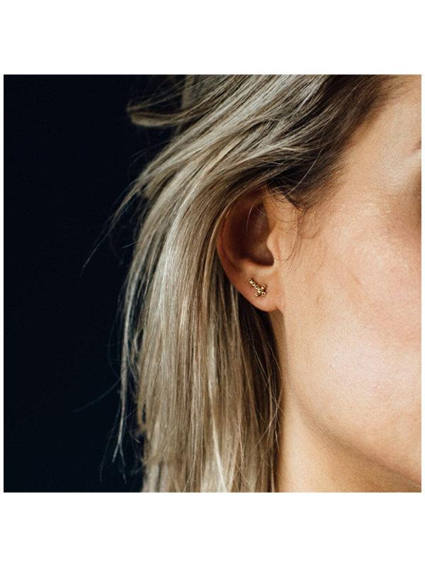 Betty Bogaers Cross Stud Zirkonia Earring Gold Plated