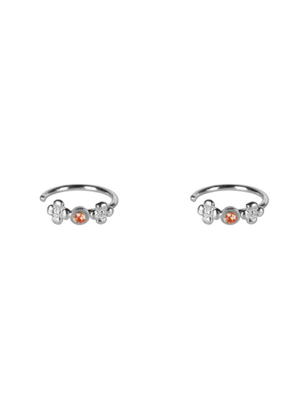 Betty Bogaers Dotted Mini Flowers Red Zirconia Ring Earring Silver