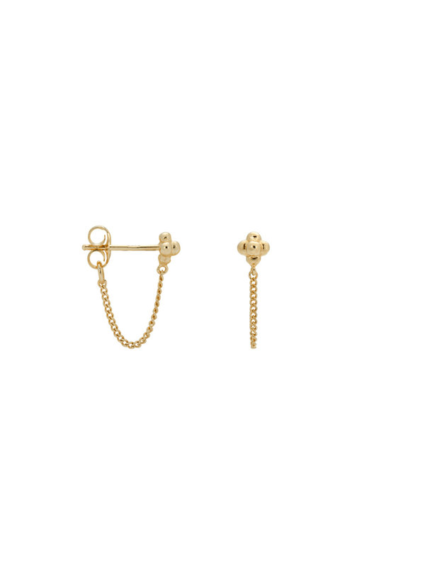 Anna + Nina Single Blossom Chain Stud Goldplated