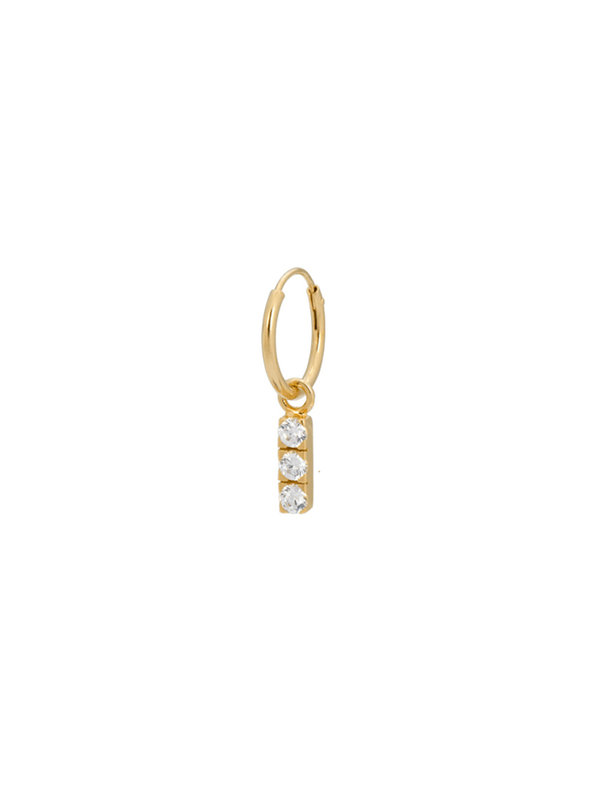 Anna + Nina Single Zirconia String Ring Earring Show Goldplated