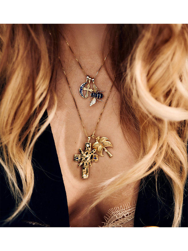 Anna + Nina Funky Disco Necklace Charm Goldplated