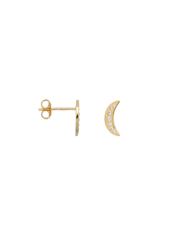 Anna + Nina Single Nightfall Stud White Goldplated