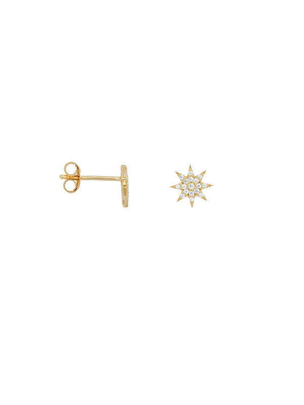 Anna + Nina Single Nova Stud White Goldplated