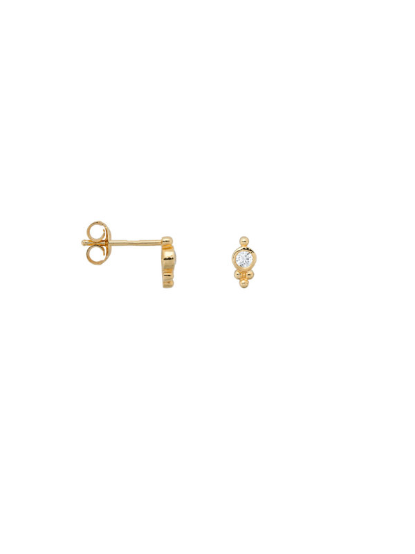 Anna + Nina Single Bindi Stud Zirconia Goldplated