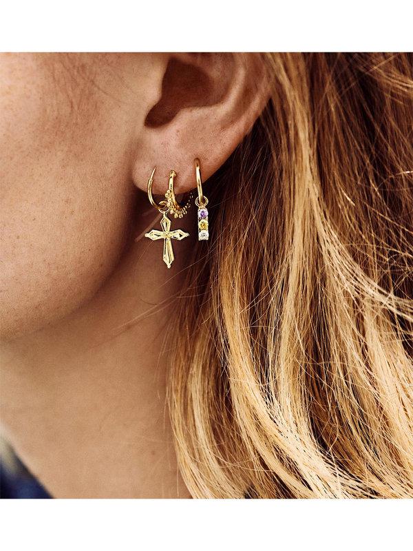 Anna + Nina Single Madonna Cross Ring Earring Goldplated