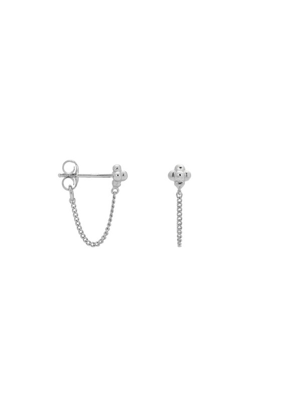 Anna + Nina Single Blossom Chain Stud Silver