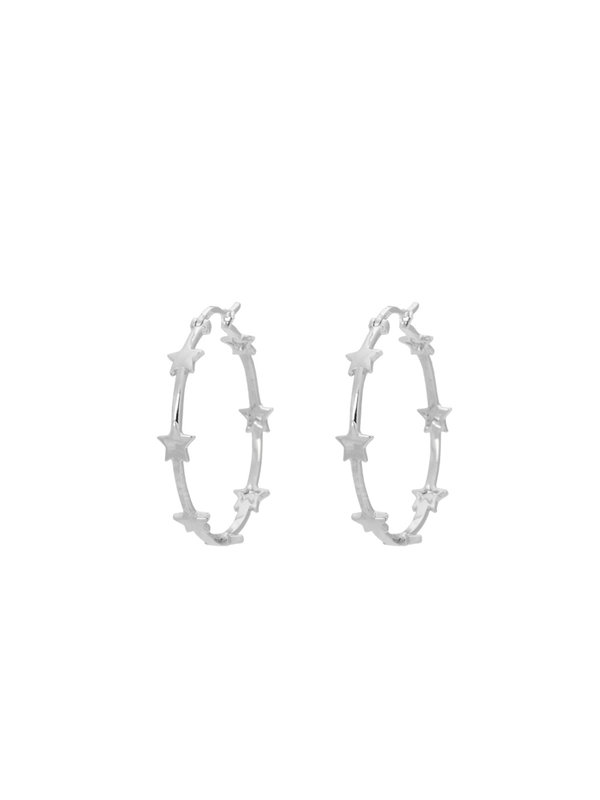Anna + Nina Nova Hoop Earrings Brass Silver