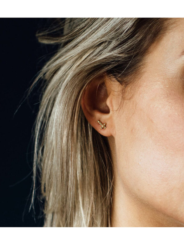 Betty Bogaers Cross Stud Zirkonia Earring Silver