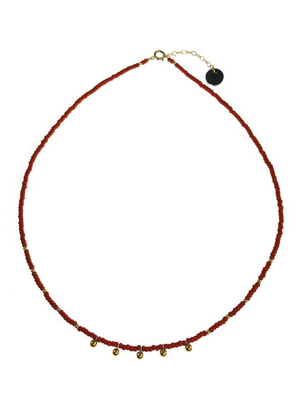 Blinckstar Necklace Gold Drops And Matt Brick Japanese Beads